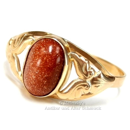 Alter 583er Gold Ring Goldfluss 14K Rotgold Aventuringlas 20 mm Gr. 63