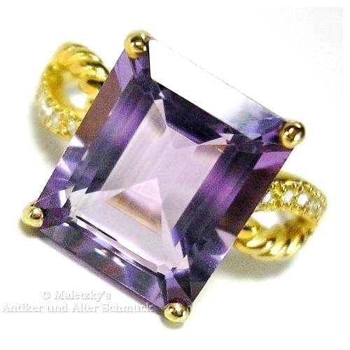 416er Gold Ring 4,48 ct Amethyst mit Diamanten 10K Gelbgold 17,5 mm Gr. 55