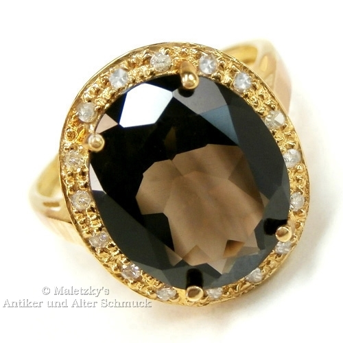 10K Gold Ring 4,25 ct Rauchquarz & Diamanten 416er Gelbgold Quarz 17,5 mm Gr. 55