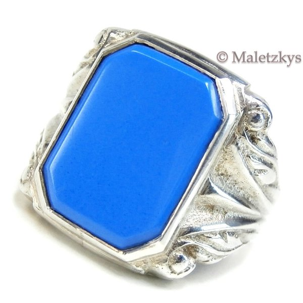 Art Déco Ring um 1935 - Antiker Herrenring 835 Silber blaues Glas 18,8 mm Gr. 59