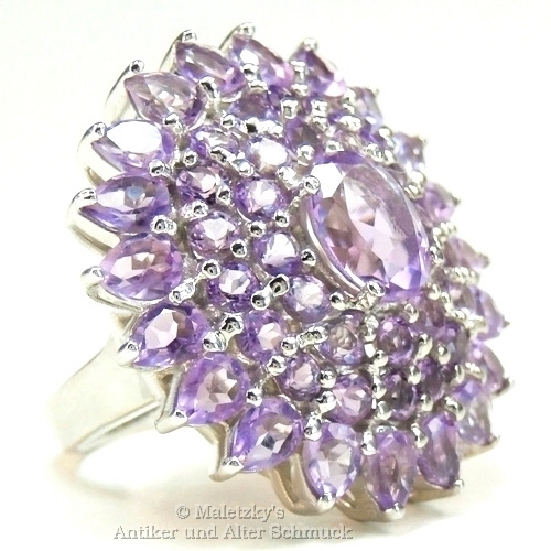 Opulenter echter 8,2 ct lila Amethyst Statement Ring 925er Silber 17,5 mm Gr. 55