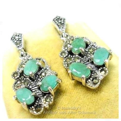 besserer Preis Keine Verkaufssteuer der Verkauf von Schuhen Echte 3,0 ct Smaragd Markasit Ohrringe 925er Silber Ohrstecker Ohrhänger