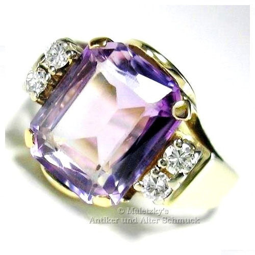 Alter 585er Gold Ring 2,63 ct Amethyst mit Diamanten 14K Gelbgold 17,5 mm Gr. 55