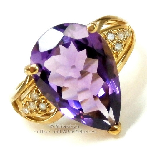 Moderner 10K Gold Ring 6,13 ct Amethyst & Diamanten 416er Gelbgold 17,5 mm Gr. 55