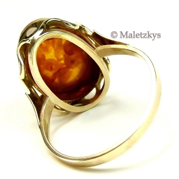 Vintage um 1960 - Alter 333er Gold Ring Bernstein 8K Gelbgold 17,5 mm Gr. 55