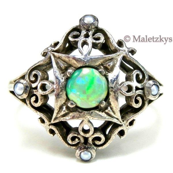 Opal Perlen Ring 925 Silber Maletzkys Antiker Und Alter Schmuck