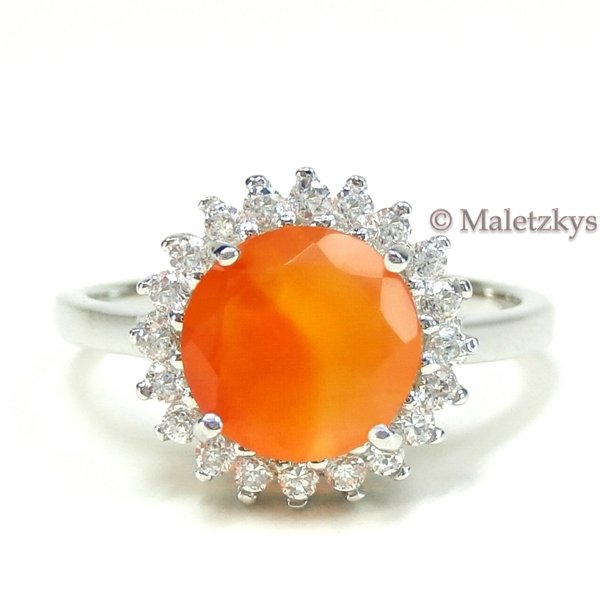 Karneol in Orange & Zirkonia in Weiß - 925er Silber Ring 18,1 mm Gr. 57